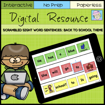 Digital Sight Word Sentences: Back to School Theme