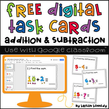 FREE Google Classroom Math Activities: Addition & Subtraction Digital Task Cards