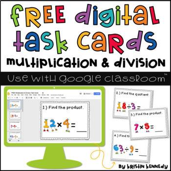FREE Digital Task Cards: Multiplication & Division