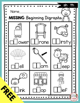 Free Digraph Worksheet Printable To Support Digraphs And Phonics Freebie