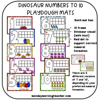 FREE Dinosaur Playdough Mats Numbers 1-10 with number formation cues!