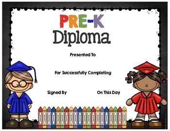 FREE Diplomas - Preschool - Pre-K - Kindergarten