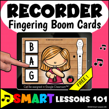FREE RECORDER BOOM CARDS™ BAG Music Distance Learning Music Google Classroom™
