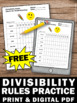 FREE Divisibility Rules Sheet Division Strategies 4th Grade Math Review Stations