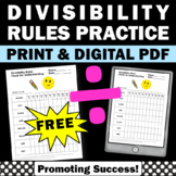 FREE Divisibility Rules Worksheet 4th 5th Grade Distance Learning Worksheet