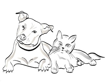 Free Dog And Cats Coloring Page By The Harstad Collection Tpt
