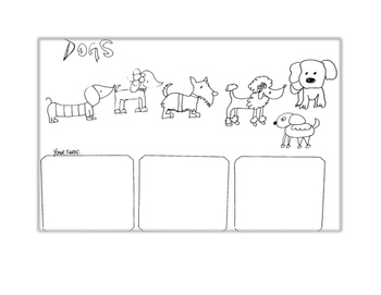 FREE Dogs Line Drawing Lessons NO PREP Ice Breaker 10 minute Activity