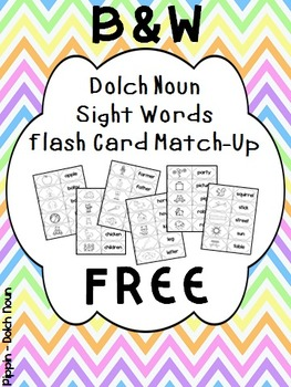 FREE Dolch Noun Sight Word Flash Cards - B&W