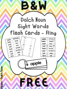 FREE Dolch Noun Sight Word KEYRING CARDS - B&W