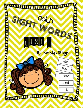FREE Dolch Sight Words List 1 Kindergarten