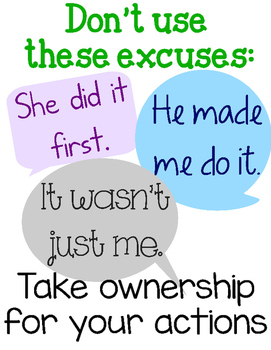 FREE PRINTABLE -  Don't use these excuses...take ownership