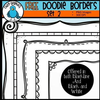 FREE Doodle Borders Clip Art Set #2 - Chirp Graphics