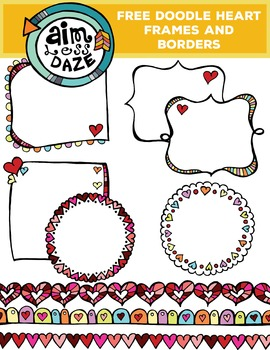 FREE-Doodle Heart Frames and Borders