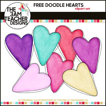 FREE  Doodle Hearts Graphics
