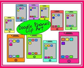 FREE Doodle Smartie Phones Clip Art