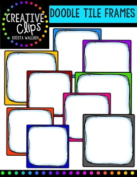 FREE Doodle Tile Frames{Creative Clips Digital Clipart}