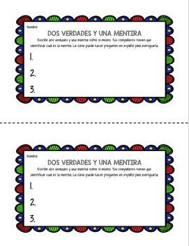 Dos Verdades y Una Mentira First Day Spanish Activity primer día de español