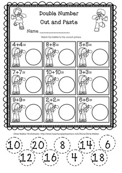 Doubles Facts Numbers Worksheet/ Free!!!! by Olivia Walker | TpT