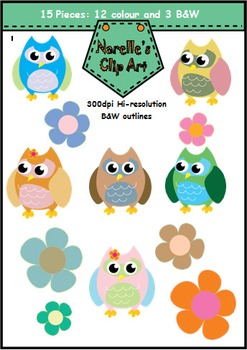 FREE Download Owls and Flowers Clip Art