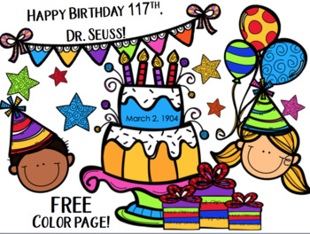 FREE Dr Seuss Birthday Color Page For 2015 2020