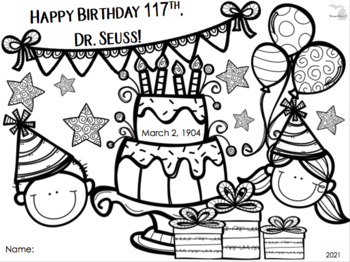 Free Dr Seuss Birthday Color Page For 2015 2020 By Kady Did Doodles