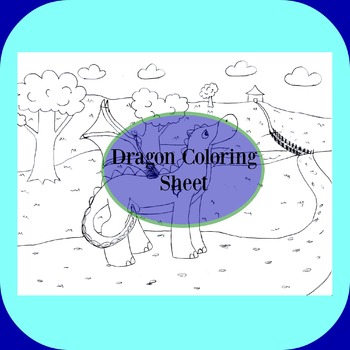 FREE Dragon at a Spring Field COLORING SHEET!