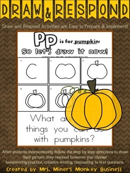 FREE Draw & Respond Pumpkin Literacy Center-Easy to Prep & Implement Center