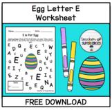 FREE E is for Egg Worksheet