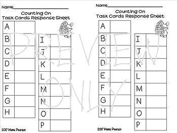 FREE EASTER Counting On Task Cards
