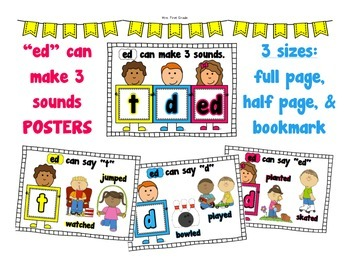 "FREE ""-ED Can Make 3 sounds"" Posters"