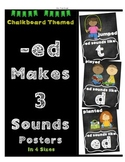 "FREE ""-ED Can Make 3 sounds"" Posters - chalkboard themed"