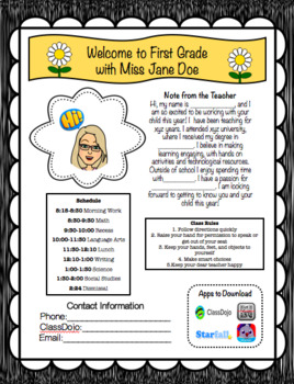 FREE & EDITABLE: Back to School Information Letters