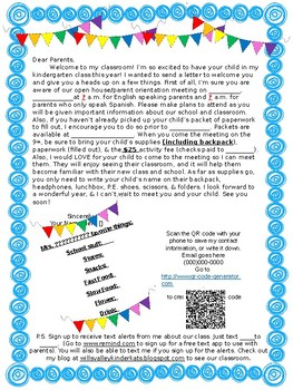 FREE/EDITABLE Back to School/Open House/Parent Info Letter