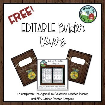 FREE & EDITABLE Binder Covers for Ag Education Teacher & FFA Officer Notebook