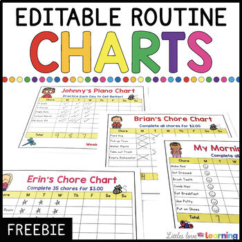 FREE EDITABLE Chore Charts, Morning Routine Charts, Music Practice Charts, etc.
