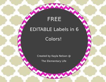 FREE EDITABLE Chevron Labels