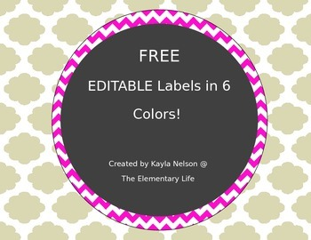 FREE EDITABLE Chevron Labels