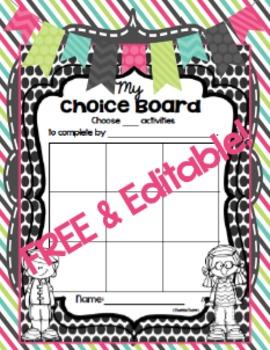 FREE & EDITABLE Choice Boards {4 Formats!}