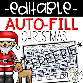 FREE EDITABLE Christmas Roll Read Color Sight Word Game {Auto-Fill}