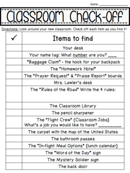 FREE EDITABLE Classroom Check-off Sheet for First Day of School