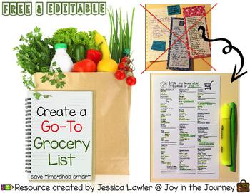 free editable grocery list for busy teachers