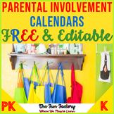 FREE EDITABLE  Homework Calendar | Kindergarten Homework |