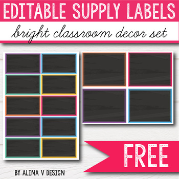 FREE EDITABLE Supply Labels - Bright Classroom Decor EDITABLE