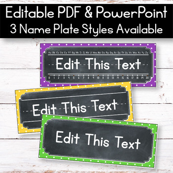 FREE EDITABLE Table Signs and Editable Name Tags - Polka Dot Chalkboard