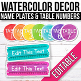FREE EDITABLE Table Signs and Name Tags watercolor Classroom Decor