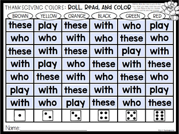 FREE EDITABLE Thanksgiving Roll Read Color Sight Word Game {Auto-Fill}