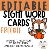 FREE EDITABLE sight word game for Fall