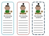 FREE ELA Vocabulary - My Interesting Words Bookmark