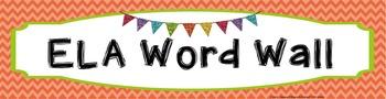 FREE ELA Vocabulary Word Wall Banner - Chevron Plain