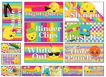 FREE!! EMOJI Rainbow stripe Themed Tool Box Labels EDITABLE!!